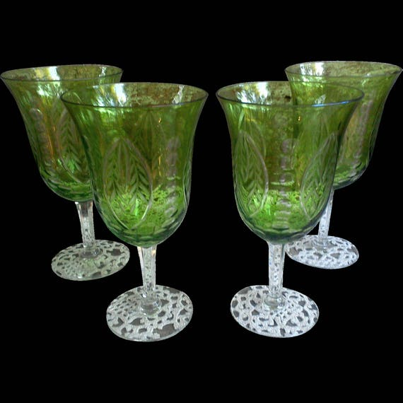 Antique Green Cut to Clear Wine Glass Goblet Stemware