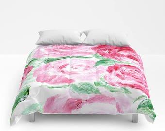 Modern Rose Comforter, pink white comforter, rose full comforter, floral comforter, rose queen comforter, rose duvet, rose bedding