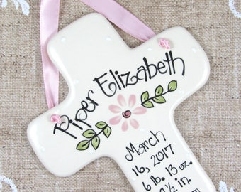 Personalized Birth Announcement Cross with Flower in Pink for Girls