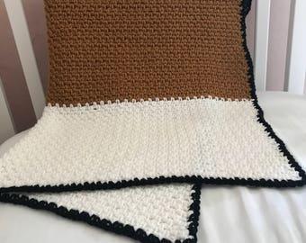 Hand Crocheted Modern Baby Blanket