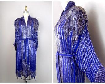 vtg seide perlen lange jacke kimono pailletten verziert duster jacke w schrpengrtel - Mantel Der Ideen Mit Uhr Verziert