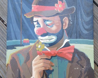 Vintage 1950's/1960's sad circus clown paint by numbers 12 x 16 art work kitsch pop
