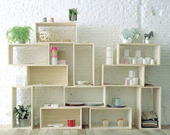 Open Shelf Shelves Shelving Bookshelf Modern Cube Modular Stacked Tiered  Storage Organization Repurposed Wood Box Crate