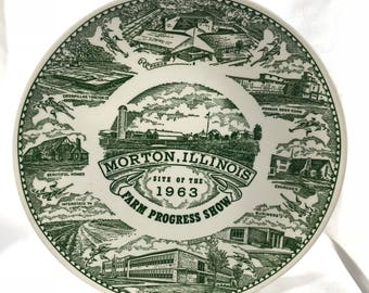 1963 Farm Progress Show Plate Morton, Illinois Green 10""