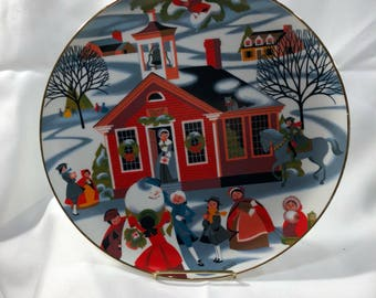 "Village School House 2nd Edition Betsey Bates Large Plate Christmas Excitement 10.25"" LE Lynell Marketing 1980"