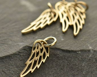 Add a Gold Angel Wing or Bird Wing Charm / Pendant