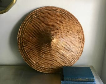 vintage rice paddy hat conical  sedge coolie wall decor large