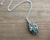 Pyrite and Galena healing crystal chakra necklace
