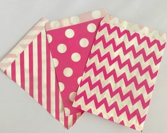 Goodie Bags-Pink Striped, Polka Dot, & Chevron | Gender Reveal | Baby Shower | Candy Buffet | Popcorn | Paper Treat Bags-30 Count