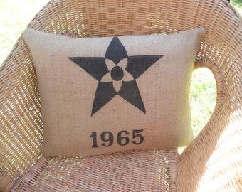 burlap pillow bag old stencils former star 1965 old industrial machine