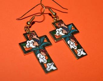 Vintage Earrings Enamel Cross Flower Flowers