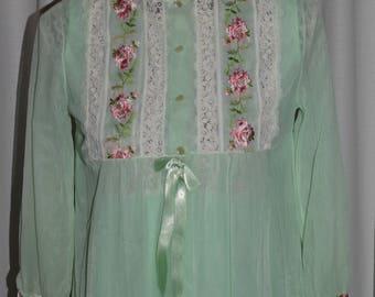 Penoir Light Green Peignoir  Nightie Set Vintage Retro Pastel Green Nightie Nighty Nightgown Lingerie Set