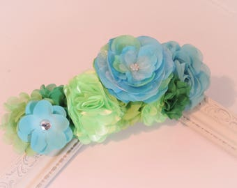 Flower crown headband, blue green headband, adult accessories, edc edm rave plur, elastic headband, adult accessories, photo prop headpiece