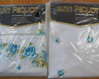Vintage PEQUOT Blue Rose Floral Bouquet Double Flat & Fitted Bed Sheets NEW