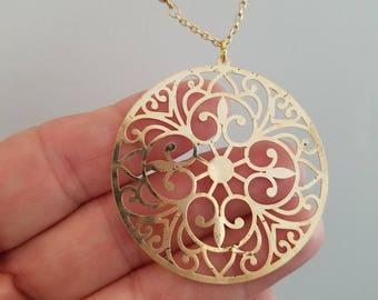 Filigree Medallion on Gold Filled Satellite Chain