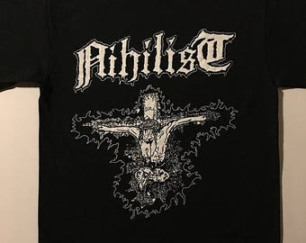 Nihilist T shirt Swedish Death Metal with Old school demo era artwork for fans of Dismember Entombed Carcass and Napalm Death shirt