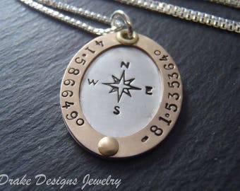 Compass Custom coordinates personalized necklace sterling silver inspirational graduation gift for her