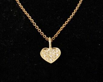 Gold & diamonds Heart Pendant, Diamond Pendant 0.07 Carats, Woman 14k yellow Gold Pendant, love, gift for her, Valentine's Day gift