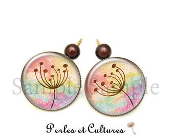 Dandelion - Brown cabochon bead earrings
