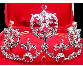 ON SALE 10% OFF Victorian Style 14.50Ctw Rose Cut Diamond .925 Sterling Antique Tiara/Crown