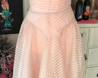 1950's Vintage Pink Organza Formal Party Dress