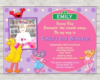 Sesame Street Girl Birthday Invitation - Printable File (Digital)