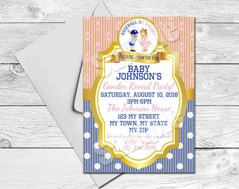 Baseball or Ballet Gender Reveal Party Invitation 5 x 7 Printable Personalized for you to Print Yourself.