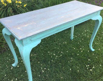 Vintage Painted Shabby Chic Ladies Writing Desk Console Sofa Table
