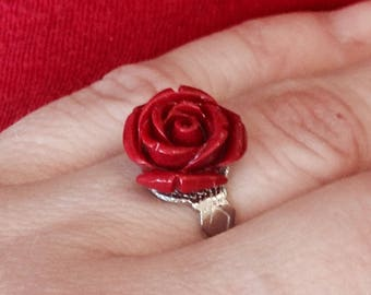 Beauty and the Beast Rose Ring - Fairy Tale - adjustable silver ring - nickel free - gifts under 10, 15 - Stardust Trinkets