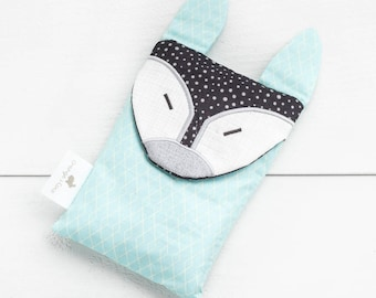 Boo boo bag, heating pad, baby gift, toddler gift, fox baby gift, black mint fox, fox, christening gift, baby shower gift, neutral baby gift