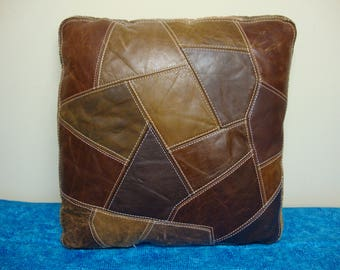 Leather Patchwork Pillow 17 x 17