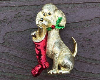 Vintage Jewelry Signed Gerry's Dog with Christmas Stocking Pin Brooch