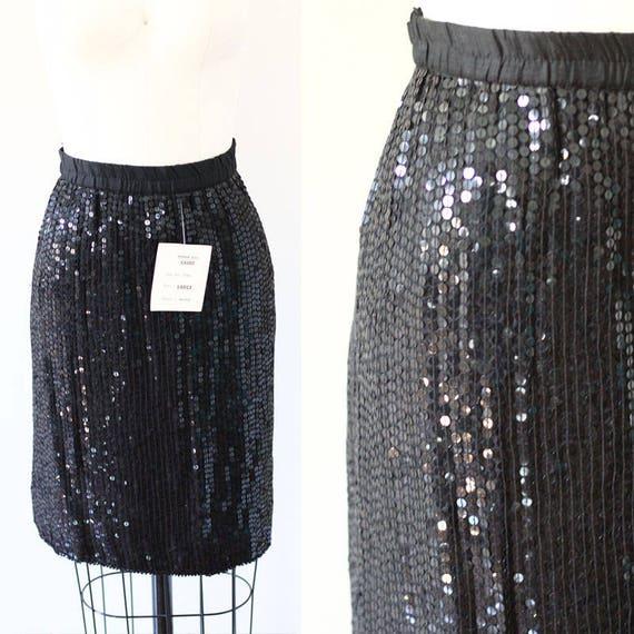 1980s black sequin mini skirt // 1980s skirt // vintage skirt