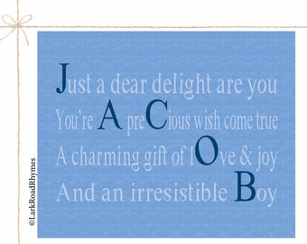 Unique Baby Boy Gifts Personalized Baby Boy Baby Name Wall Art New Baby Gift Baby Boy Nursery Decor Nursery Wall Art Poem 8x10 Jacob