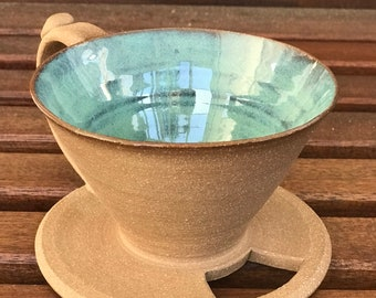 Handmade Ceramic Coffee Pour Over Coffee Maker-Green/Turquoise
