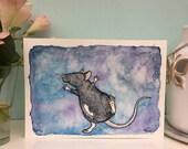 Astrid le Rat étoile, peinture à l'aquarelle, A5 6 x 4 Art Print, joli danse Rat Rat animal heureux, cadeau pour les amateurs de Rat, Art mural