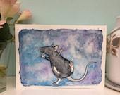 Astrid The Star Rat, Watercolour Painting, A5 6x4 Art Print, Cute Dancing Rat, Happy Pet Rat, Gift For Rat Lovers, Wall Art