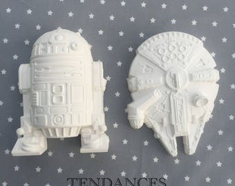 Star wars millennium falcon and r2d2 plaster decoration objects
