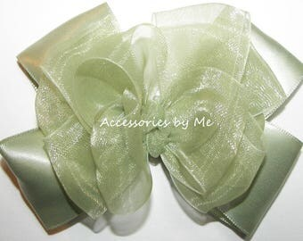 Sage Hair Bow, Green Ribbon Clip, Sage Green Organza Satin Bow, Pale Green Flower Girl Bows, Mint Green Baby Bow Bands, Sage Easter Bow Band