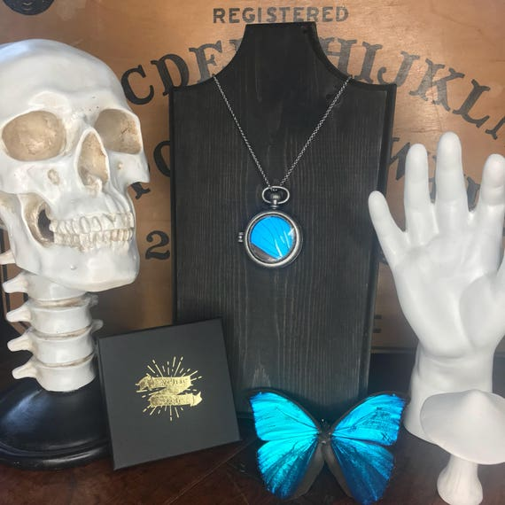 Real blue morpho butterfly wing necklace! Pocket watch style! Great gift!