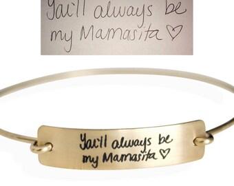 Handwriting Bangle, Sterling Silver Handwriting Bracelet, Personalized Handwritten Bangle, Gold Custom Bracelet - Large Plate Bangle