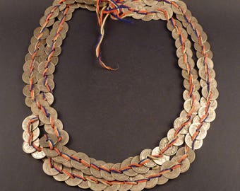 Old Karen coin necklace from the Hill tribes in SE Asia, triba ethnic jewelry, old coins necklace, Karen jewelry, hill tribe silver