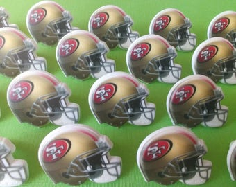 24 San Francisco 49ers NINERS helmet cupcake rings NFL picks cake toppers football fan birthday tailgate party sport super bowl bachelor