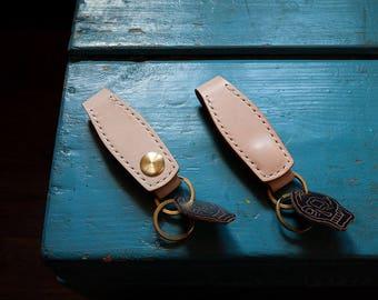 Keychain Natural Vegetable Tanned Leather Veg Tan Keyring Key Fob Clip Lanyard Key Holder Solid Brass Hardware Horween Chromexcel Skull