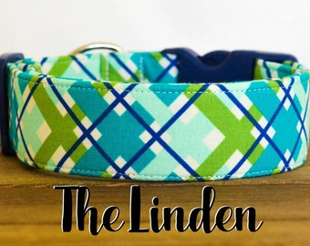 """Turquoise, Navy and Green Modern Dapper Plaid Dog Collar """"The Linden"""""""