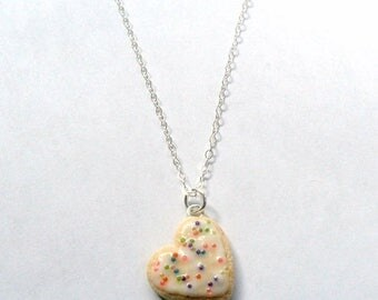 ON SALE Heart Frosted Sugar Cookie Necklace, Cute :D
