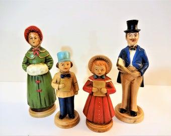Vintage Victorian Caroler Figurines - Set of 4 - Caroling Family Figurines - Ardco Fine Quality - Japan - Mid Century Christmas Carolers