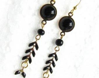 Earrings chain enamel ears, cabochons, black and gold