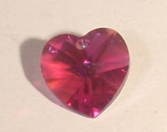 Faceted 10mm fuchsia Swarovski Crystal heart bead