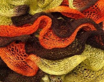 Handmade - Orange, Brown, lime green ruffle scarf